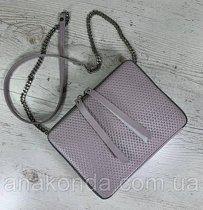 63-3 Из натуральной кожи сумка женская кросс-боди пастельно-сиреневая сумка кожаная сумка светлая лиловая, фото 2