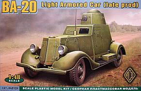 Ба-20 (коническая башня). Сборная модель бронеавтомобиля в масштабе 1/48. ACE 48109