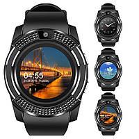 Сенсорные Smart Watch V8 Черные смарт часы умные часы круглые