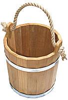 Ведро Tesli 12 литров термированная липа и нержавеющая сталь для бани и сауны