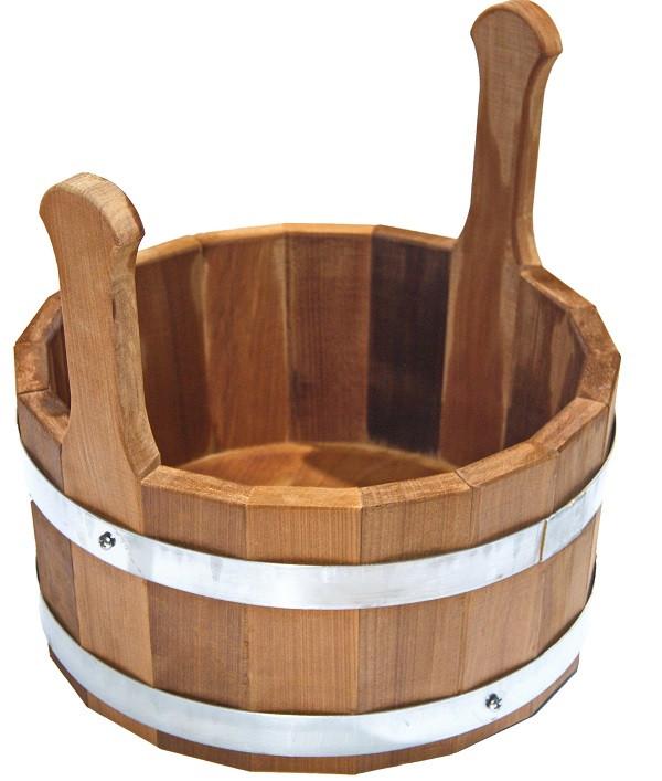 Шайка Tesli 7 литров термированная липа и нержавеющая сталь для бани и сауны
