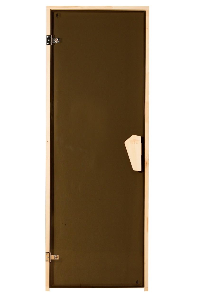 Универсальная стеклянная дверь липа Tesli Lux 1900х700 мм бронзовая прозрачная для бани и сауны