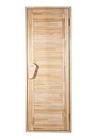 Универсальная деревянная дверь липа Tesli Глухая Зебра 1900х700 мм с порогом для бани и сауны
