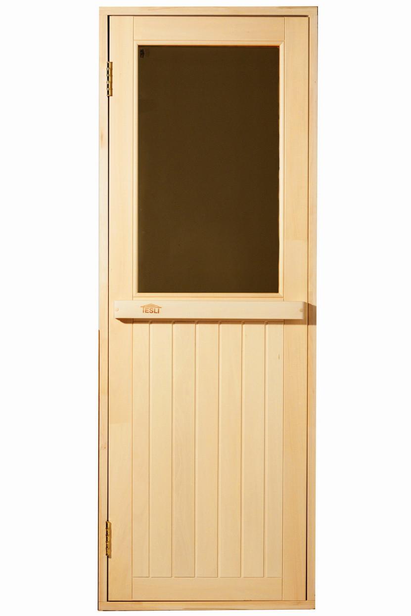 Универсальная деревянная дверь липа Tesli Макс Новая 1900х700 мм с порогом для бани и сауны