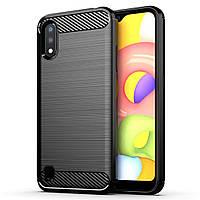 Противоударный TPU чехол Rugged Carbon для Samsung Galaxy A01 (sm-a015) черный