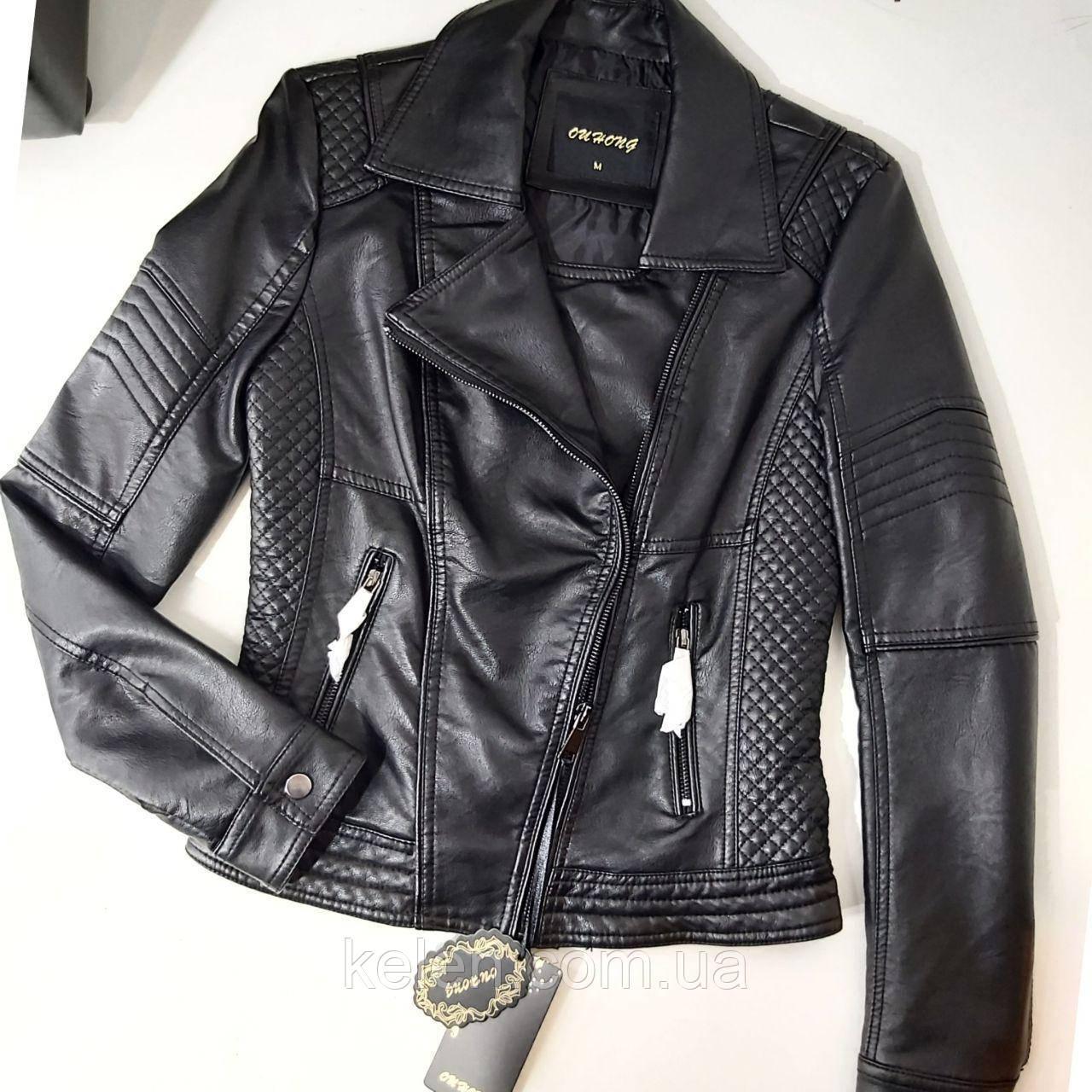 Куртка женская из кожзама черная