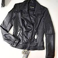 Куртка женская из кожзама черная, фото 1