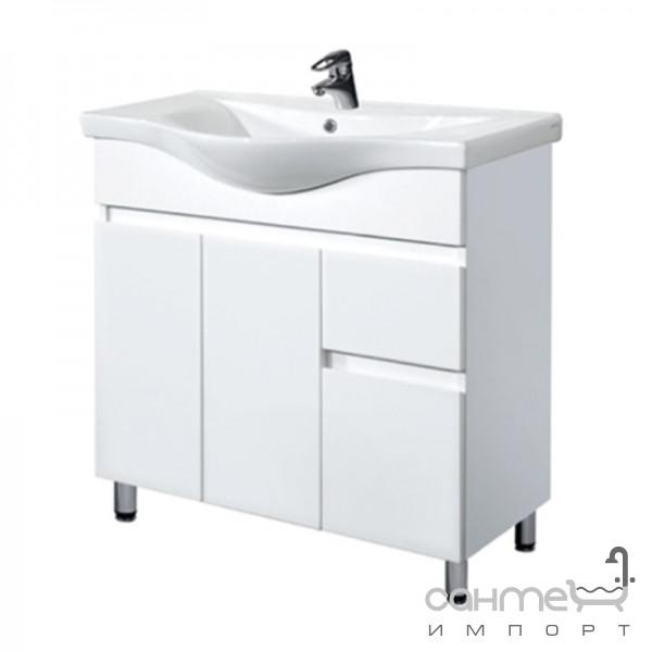 Меблі для ванних кімнат, дзеркала Мойдодир Тумба з раковиною підлогова Мойдодир Фокус-80 (ALBATROS-80) біла