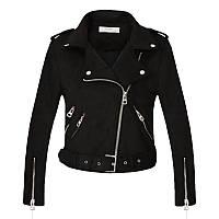 Женская черная замшевая куртка косуха L, XL