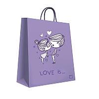 Пакет бумажный подарочный 150х210х80 мм. 5 шт. / уп. Сиреневый. Print 00006 Love is...