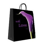 Пакет бумажный подарочный 300х250х150 мм. 5 шт. / уп. Черный. Print 10001 #1 With love