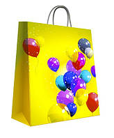 Пакет бумажный подарочный 300х400х180 мм. 5 шт. / уп. Желтый. Print 20003 Воздушные шары