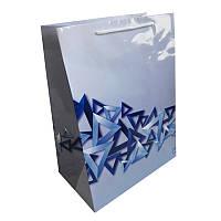 Пакет бумажный подарочный 300х400х180 мм. 5 шт. / уп. Белый. Print 20002 Синие треугольники