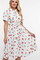 Літній біле плаття в вишеньки великі розміри, фото 1