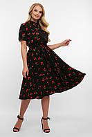 Літнє плаття міді вишеньки великі розміри, фото 1