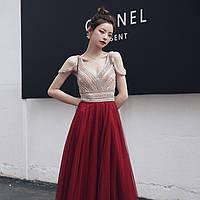 Червона жіноча сукня. Вечерние Выпускное красное платье расшитое бисером с фатиновой юбкой