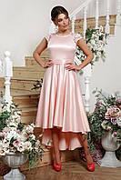 Нежно-розовое латье миди на выпускной, фото 1