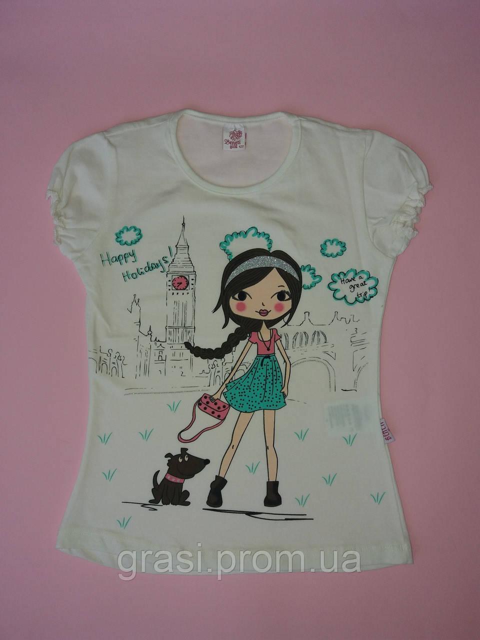 Летняя футболка для девочки 104. 122
