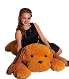 Мягкая игрушка Собака Тузик 90 см медовый с коричневым, фото 3