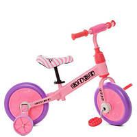 Беговел детский 2 в 1 PROFI KIDS 12д. М 5453-4 колёса EVA,педали,доп.кол,эксцентр,розовый