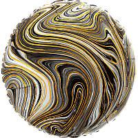 "Фольгированный шар круг Агат черный Black Marble S 18"" Anagram"