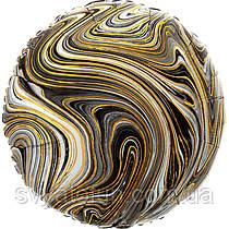 """Фольгований круглий куля """"Агат чорний Black Marble S18"""", Anagram"""