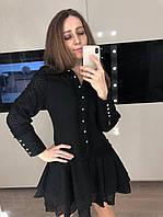 Черное хлопковое платье с длинным рукавом, фото 1