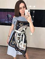 Женское хлопковое платье с шелковым платком