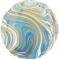 "Фольгированный шар круг Агат голубой Blue Marble S 18"" Anagram"