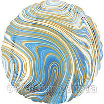 """Фольгований круглий куля """"Агат блакитний Blue Marble S18"""", Anagram"""