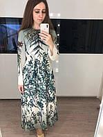 Длинное шелковое платье с растительным принтом