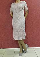 Вечернее платье-футляр батал, гипюр-шифон пудрового цвета, нарядное, коктейльное. на свадьбу, на выпускной