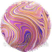 "Фольгований круглий куля ""Агат фіолетовий Пурпурний Marble S18"", Anagram"