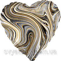"Фольгований куля-серце ""Агат чорний Black Marble S18"", Anagram"