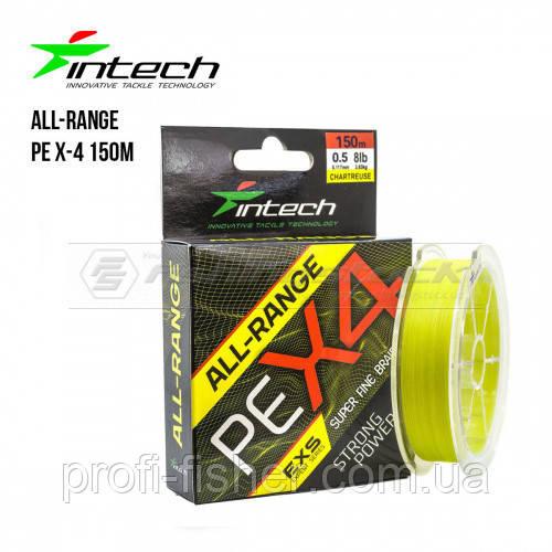 Шнур плетінь Intech All-Range PE X-4 150m 0.8 - 0,148 мм(12lb / 5.45 kg)