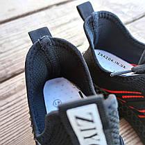 Черные мужские кроссовки носки в стиле Adidas yeezy boost v2 носки на подошве ткань текстиль сетка, фото 3