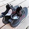 Черные мужские кроссовки носки в стиле Adidas yeezy boost v2 носки на подошве ткань текстиль сетка, фото 2