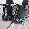 Черные мужские кроссовки носки в стиле Adidas yeezy boost v2 носки на подошве ткань текстиль сетка, фото 4