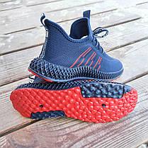 Синие мужские кроссовки носки в стиле Adidas yeezy boost v2 носки на подошве ткань текстиль сетка, фото 2