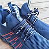 Синие мужские кроссовки носки в стиле Adidas yeezy boost v2 носки на подошве ткань текстиль сетка, фото 4
