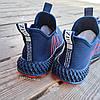 Синие мужские кроссовки носки в стиле Adidas yeezy boost v2 носки на подошве ткань текстиль сетка, фото 5