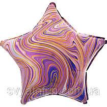 "Фольгований куля-зірка ""Агат фіолетовий Пурпурний Marble S18"", Anagram"