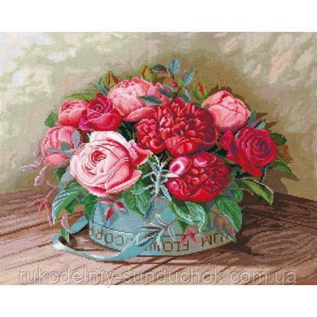 Набор для вышивки крестом Сделай Своими Руками Пионы и розы П-36