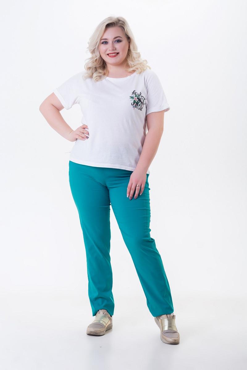 Летние брюки женские из легкого стрейч-коттона Кнопки мята (50-56)