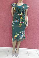 Нарядное шифоновое платье-костюм батал, зеленое с цветочным принтом, деловое, вечернее, на свадьбу и выпускной
