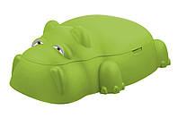 Песочница с крышкой - бегемотик, 70,5*98*34 см, 60л, зелёный, пластик (18-518-2)
