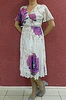 Нарядное шифоновое платье батал с юбкой плиссе, белое с цветочным принтом, на свадьбу, на выпускной, вечернее