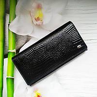 Женский лаковый кошелек S1001-black из натуральной кожи с тиснением под питона