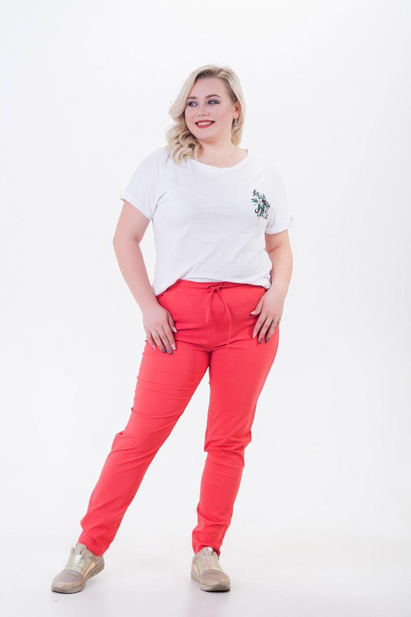 Летние брюки женские из легкого стрейч-коттона Шнурок коралл (52-58)