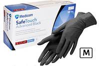 """Перчатка Medicom  черная """"м"""" 100 штук нитриловые (901290/M)"""